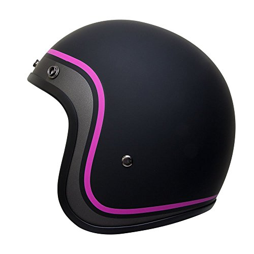 Voss 501 Pink Curvy Low Profile DOT Fiberglass Open Face Helmet with Metal Quick Release - M - Matte Pink/Black