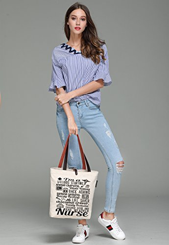 Top Shoulder Letters Bag Women's So'each Graphic A Handle I'm Canvas Nurse Tote pvYq7