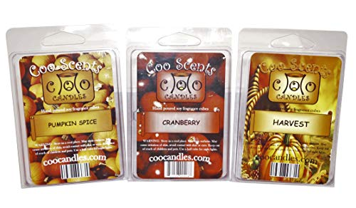 Coo Candles 3 Pack Soy Wickless Candle Bar Wax Melts - Autumn Spice Scents - Fall or Winter