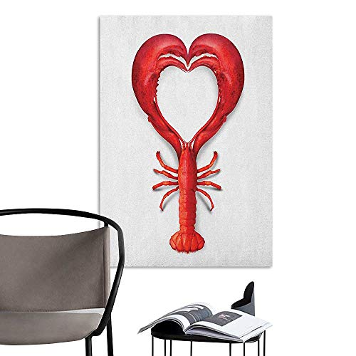 Jaydevn Art Decor 3D Wall Mural Wallpaper Stickers Sea Animals A Boiled Lobster Shaped as A Heart Symbol Seafood Love Valentines Restaurant Menu Art Red TV Backdrop Wall W24 x H36 ()