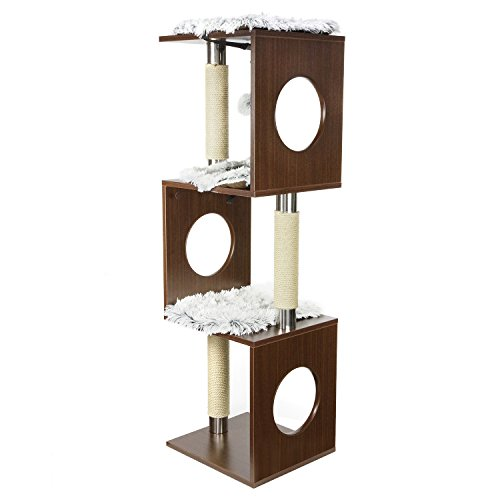 Wood Cat Condo (PARTYSAVING PET PALACE Multilevel Cat Tree Activity Tower Sisal Scratching Posts, Hanging Ball, Removable Mats, APL2082)