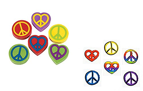 PEACE Sign PARTY Favors (96pce) Tattoos & Erasers - Sixties Seventies THEME - Hippie RETRO - Classroom GIVEAWAYS]()