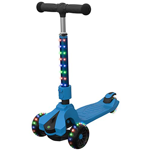 Jetson Saturn Folding 3-Wheel Kick Scooter with Light-Up Stem & Deck, Lean-to-Steer Design with Sturdy Wide Deck & Adjustable Height, for Kids 5 & Up, Blue