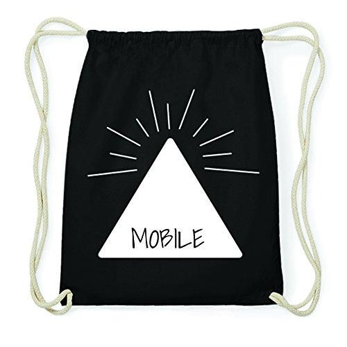 JOllify MOBILE Hipster Turnbeutel Tasche Rucksack aus Baumwolle - Farbe: schwarz Design: Pyramide