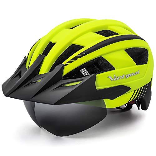 VICTGOAL Fietshelm Heren Mountainbike Helm met Afneembaar Magnetisch Vizier Afneembare Zonbeschermingskap en LED…