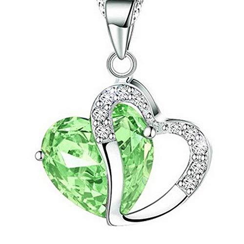 (LiLiMeng Fashion Women Heart Crystal Rhinestone Silver Chain Pendant Necklace Jewelry F)