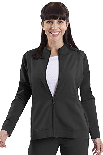 healing hands Purple Label Women's Dakota 5038 Zip Up Scrub Jacket Scrubs- Black- M (Black Label Coat)