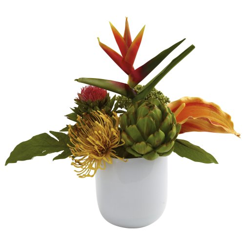 [Nearly Natural 4820 Tropical Floral Arrangement with White Glass Vase, Green] (Christmas Floral Arrangements)