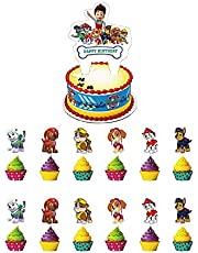 1 PCS PAW Patrol Happy Birthday Cake Topper 12 PCS Cute Patrol Cupcake Toppers Set for Kids, PAW Party Decorations Picks Dog Party Supplies Patrol Cake Decor Baby Shower Stuff PAW Cake Decorations