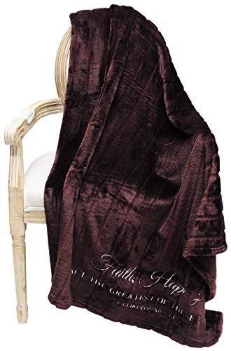 - Limited Edition Stripe Sculpted Velvet Plush | Scripture Throw Blanket | Luxuriously Soft 60x70 inches (BROWN/1Cor13:13)