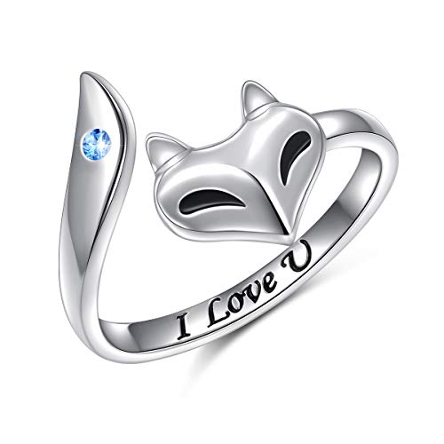 S925 Sterling Silver Fox with CZ Adjustable Resizable Ring Size 5 6 7 8 9