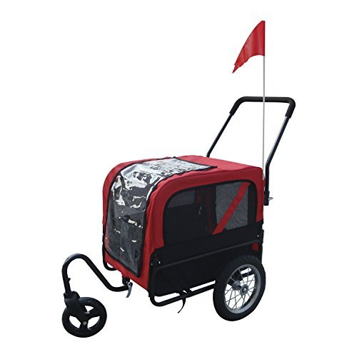 2 in 1 Pet Carrier Dog Bike Bicycle Trailer Stroller Jogging w/ Swivel Wheel from Unknown