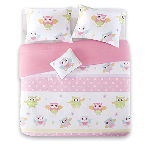 Comfort Spaces Kid 4 Piece Full/Queen Bed Comforter Cute Owl Animal Flowers Poka Dot Striped Design Decor Girls Down All Season Alternative Bedspread Set, Pink ()