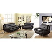U.S. Livings 3-piece Modern Living Room Black Polyurethane Leather Sofa Set