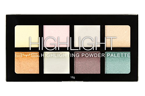 BYS Highlight Palette 8 Shades - Highlighting Powder Palette, Strobe Palette, Glam, Glow, Shimmer, Illuminate Makeup, enhance skin complexion intensify glow face eyes body makeup palette