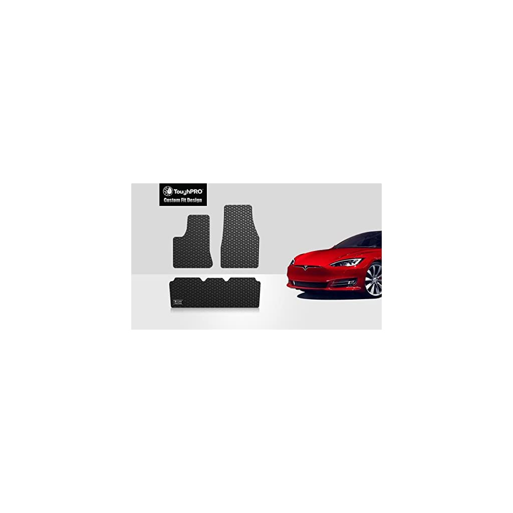 ToughPRO Tesla Model S Floor Mats Set – All Weather – Heavy Duty – Black Rubber – 2016-2017-2018-2019
