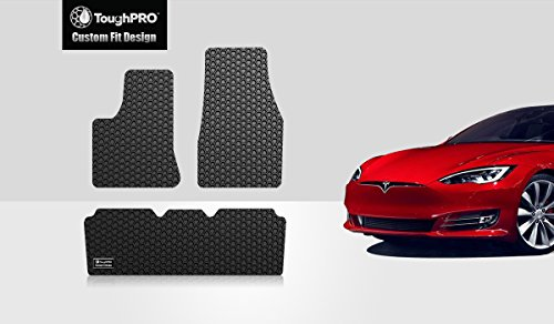 ToughPRO Tesla Model S Floor Mats Set - All Weather - Heavy Duty - Black Rubber - 2016-2017-2018-2019