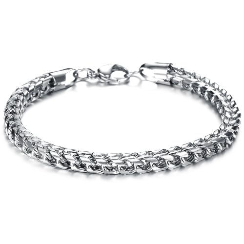 Opk Jewelry Fashion Stainless Steel Men's Bracelet Chain Wristband Bangle Men's Jewelry Gift 9.44 Inch (Link Curb Designer Band)
