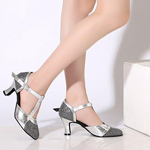 Silver 7cm Salsa Buckle Dance Two Tone Women's Pumps Heel Glitter T Latin Strap Miyoopark 76FPwq