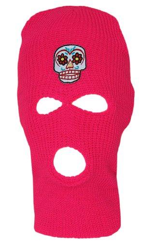 3 Hole Ski Mask Hot Pink, Sugar Skull by Hollywood (Image #4)