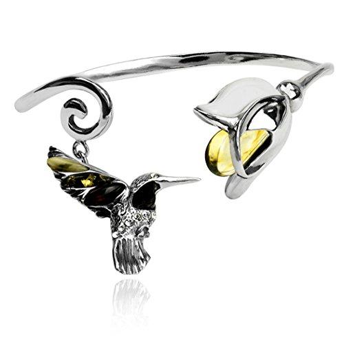 Noda Bague Ambre multicolore argent sterling Bracelet Tulipe motif colibri
