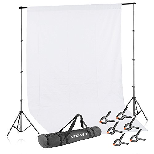 Neewer Lighting Studio Background Kit Includes: 8.5x10 feet/2.6x3 meters Backdrop Stand Support System, 6x9 feet/1.8x2.8 meters White Muslin Backdrop, 6 Pieces Backdrop Clamps and Carrying Case from Neewer