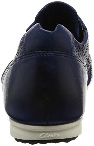 Clarks Casual Hombre Zapatos Triturn Run En Piel Azul