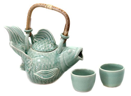 NOVICA Animal Themed Ceramic Coffee & Tea Sets, Green, 2 oz, 'Fish Legends In Green' (Set for 2) by NOVICA