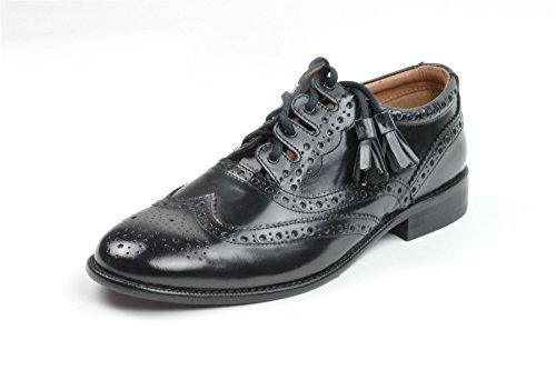 Kilt Society Mens Black Leather Scottish Ghilie Kilt Brogues Size US -