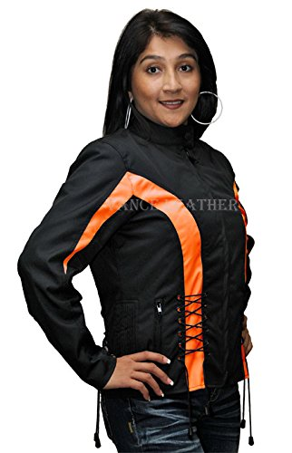 Ladies Textile Crystal Jacket Black and Orange