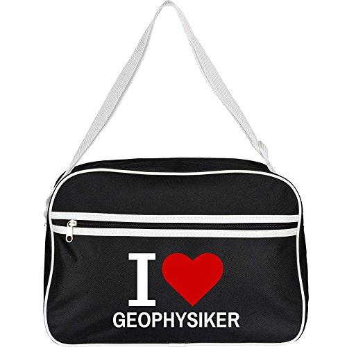 Retrotasche Classic I Love Geophysiker schwarz