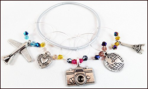 Travel Wine Charms - Travel Gifts, Airplane Glass Identifier Tags, Eiffel Tower Glass Markers - Plane, Globe & Camera Charms, Pilot Gift, Flight Attendant Gift - 5 wine charms