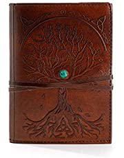 Komal's Passion Leather Leather Journal Refillable Lined Paper Tree of Life Handmade Leather Journal/Writing Notebook Diary/Bound Daily Notepad for Men & Women Medium, Writing Pad for Artist, Sketch