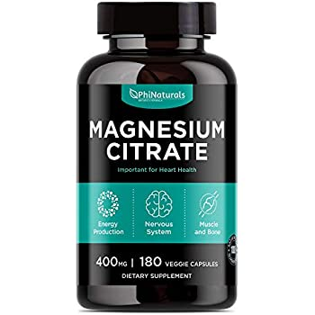 Magnesium Citrate - Magnesium Citrate Capsules 400 Milligram - Pure Magnesium Supplement 100 - Non-GMO - Made in the USA (180 Capsules)