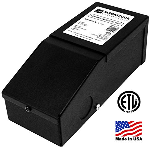 Magnitude Dimmable Driver, 60 Watt Magnetic LED Driver - 110V AC-12V DC Transformer. Made in the USA. Compatible with Lutron and Leviton for LED Strip Lights, Constant Voltage LED ()