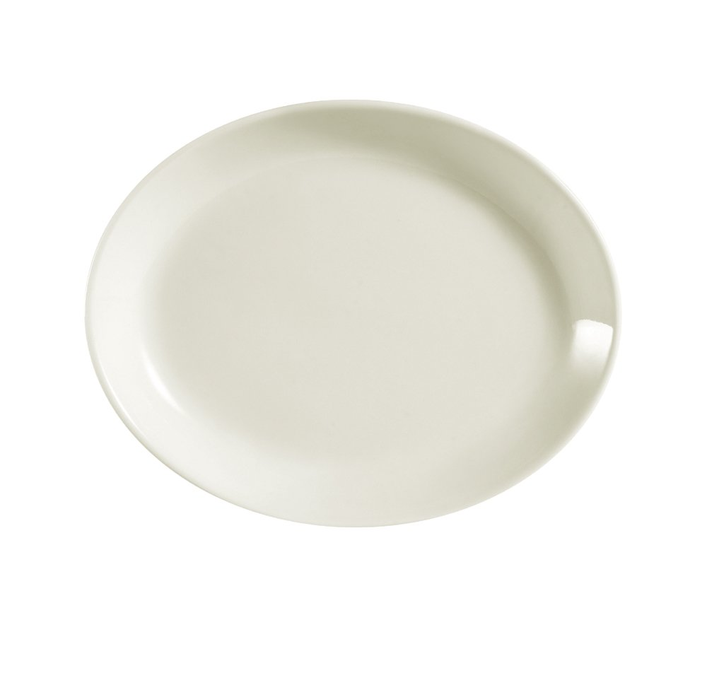 CAC China REC-14C Rolled Edge 12-3//4 by 10-1//4-Inch Stoneware Coupe Oval Platter American White Box of 12