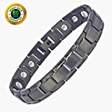 Deluxy Titanium Magnetic Bracelet Therapy High Power Magnets for Men Women Balance Arthritis Relief Pain Carpal Tunnel+ Hematite Pendant Necklace