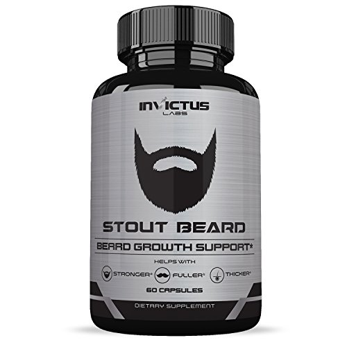 Extra Strength Beard Growth Vitamin Supplement - Grows Facial Hair Fast - Thicker, Fuller Healthier Hair - Vitamins and Minerals for Naturally Stronger, Manlier Hair - 60 Capsules