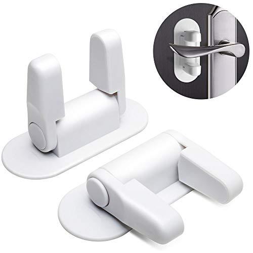 TINGAU Door Lever Handle Lock (2 Pack) & 3M Adhesive, Child Safety Door Locks - No Tools or Drilling Needed