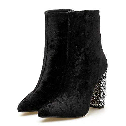 T-JULY Spring Ankle High Booties for Women Pointed Toe Glittering Square High Heels Zipper Short Boots Shoes Black