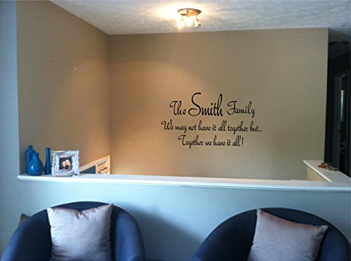 Quote It!   Family Name Together Personalized Wall Quote, Vinyl Wall Decals,  Quotes, Sayings, Words, Art, Decals, Family Quotes, Family, Stickers, ... Part 80