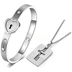 MANDI HOME New Silver Stainless Steel Bracelet Love Heart Lock Bangle Key Pendants Necklace