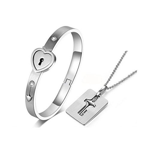 MANDI HOME New Silver Stainless Steel Bracelet Love Heart Lock Bangle Key Pendants - Locking Bracelet