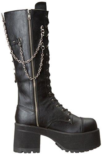Ranger 303 Plateau unisex kniehohe Stiefel mit Kette Detail schwarz - (38 EU = US 6) - Demonia