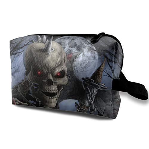 Halloween Red Eye Zombie Skeleton Axe Hunter Multi-function Travel Makeup Toiletry Coin Bag -