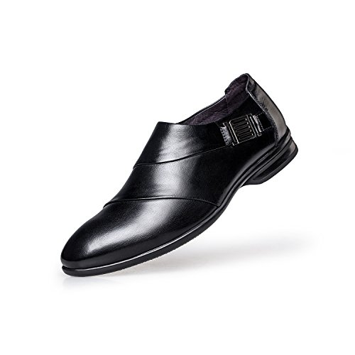 ZRO Men's Modern Slip On Monk Strap Buckle Business Dress Shoes - Black, US 6.5 by ZRO