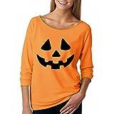 Gillberry Women Halloween Pumpkin Print Long Sleeve Pullover Tops Blouse Shirt