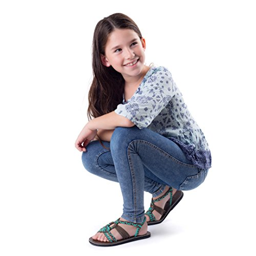 Plaka Flat Summer Sandals for Girls by Turquoise Gray 13 Twist by Plaka (Image #2)