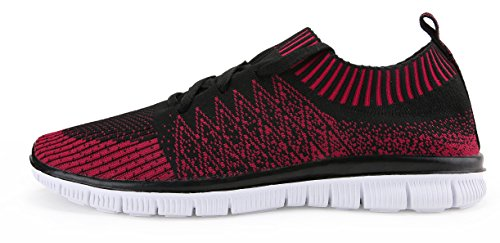 Vibdiv Mens Shoes For Running Light Weight Lace-Up Flyknit Fashion Sneakers Red S7cg0O