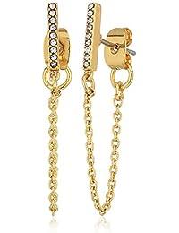Womens Pave Bar Chain Earrings